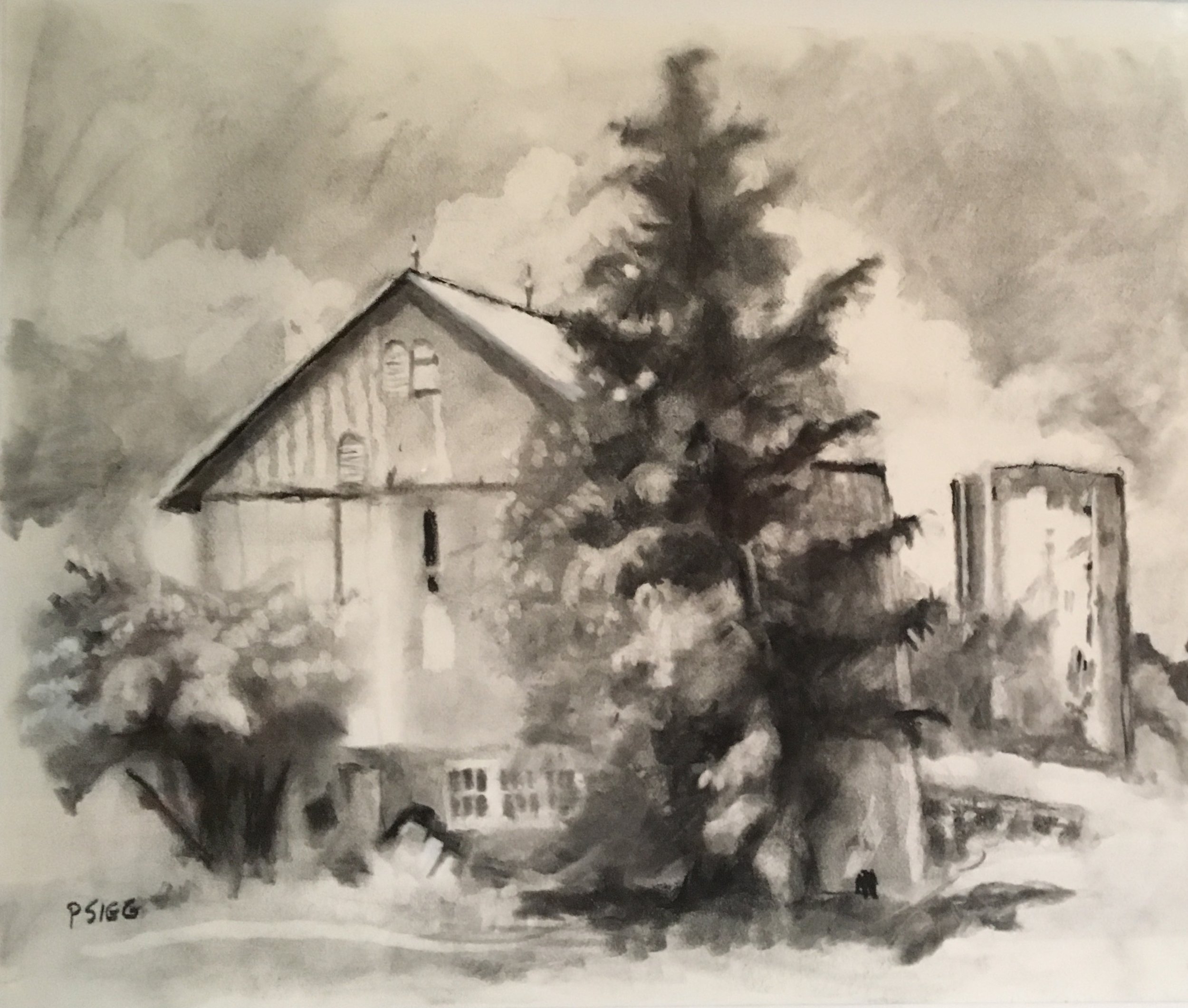 "Hidden Silo  12"" x 16"", charcoal on paper For sale, c ontact the artist"