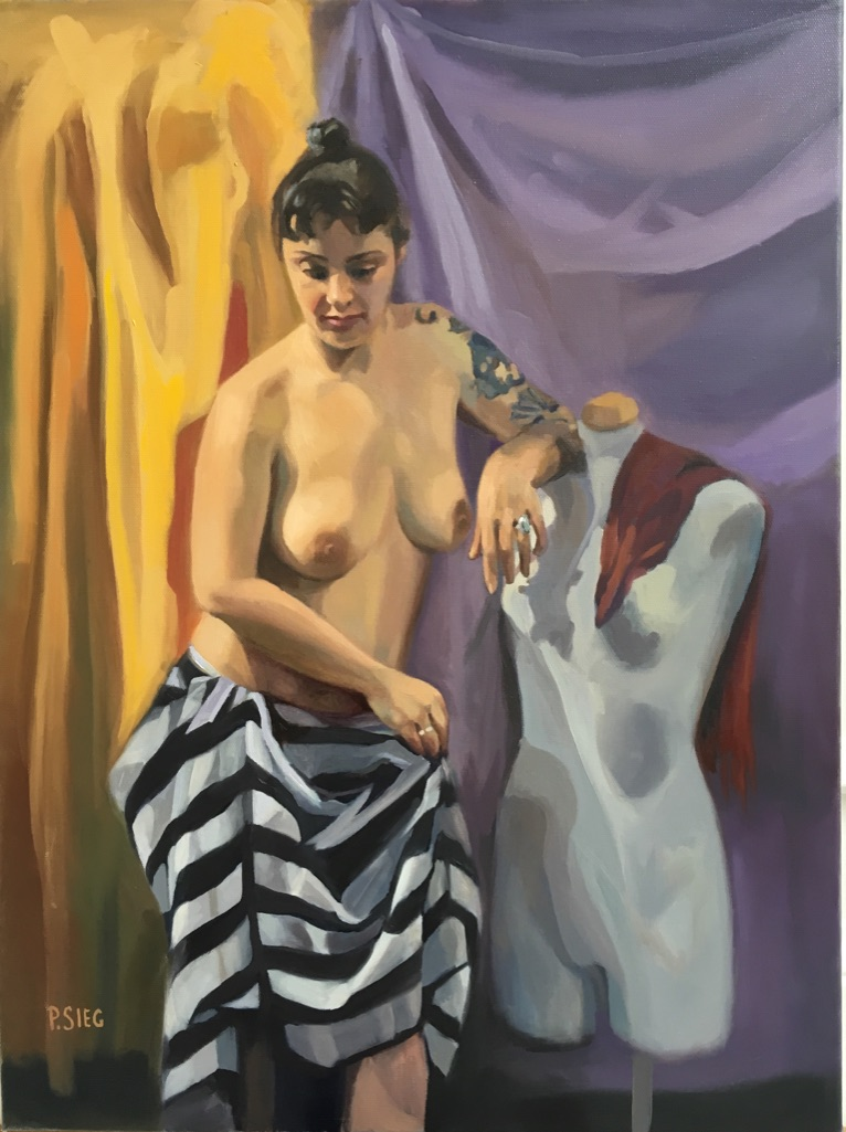 "Form, Dress and Drapes  18"" x 24"", oil on canvas For sale, contact the artist"