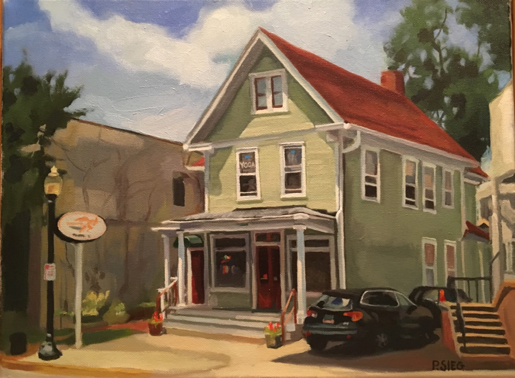 "Across From The Station  16"" x 20"", oil on canvas Private collection"