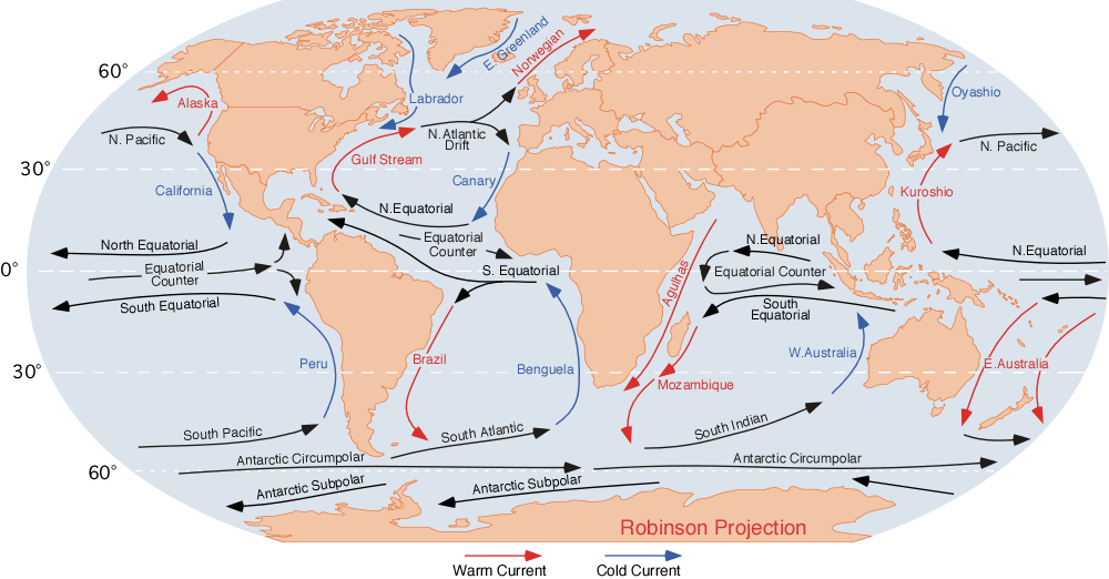 """Looking at the """"south equatorial current"""" the water should flow east to west, but reality gives us something different, with currents flowing north to south"""