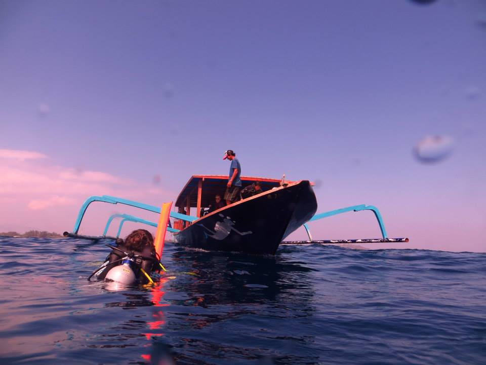 the crew spotted these divers due to their big, bright safety sausage!