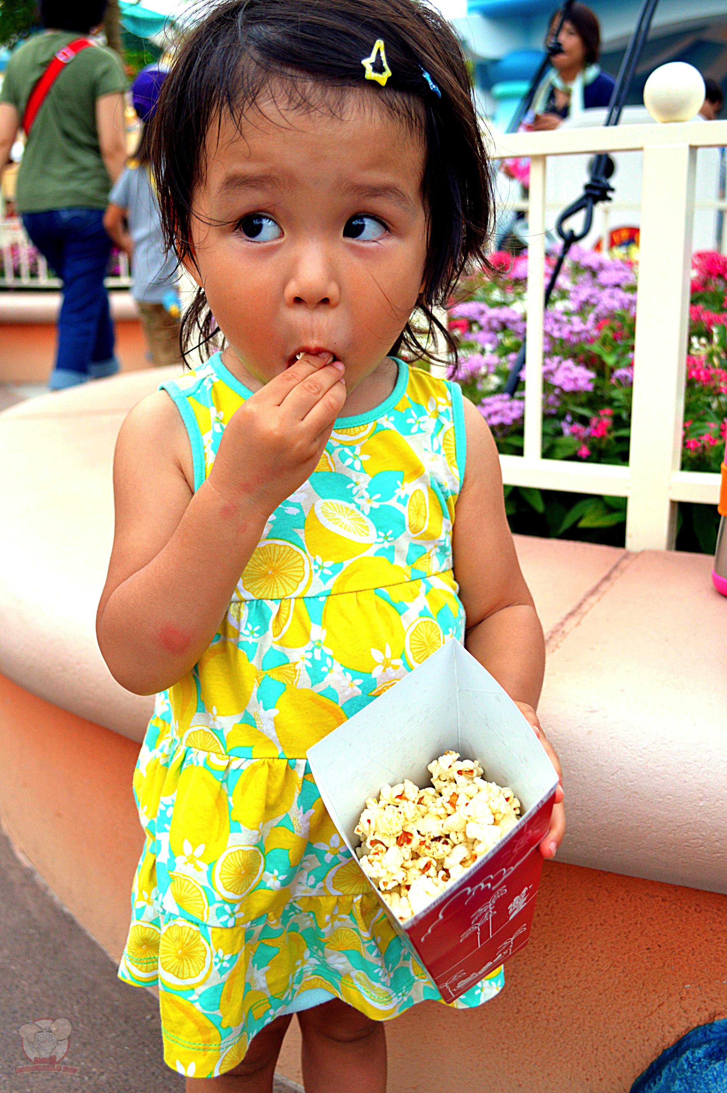 Mahina with her Jalapeno and Cheese Popcorn