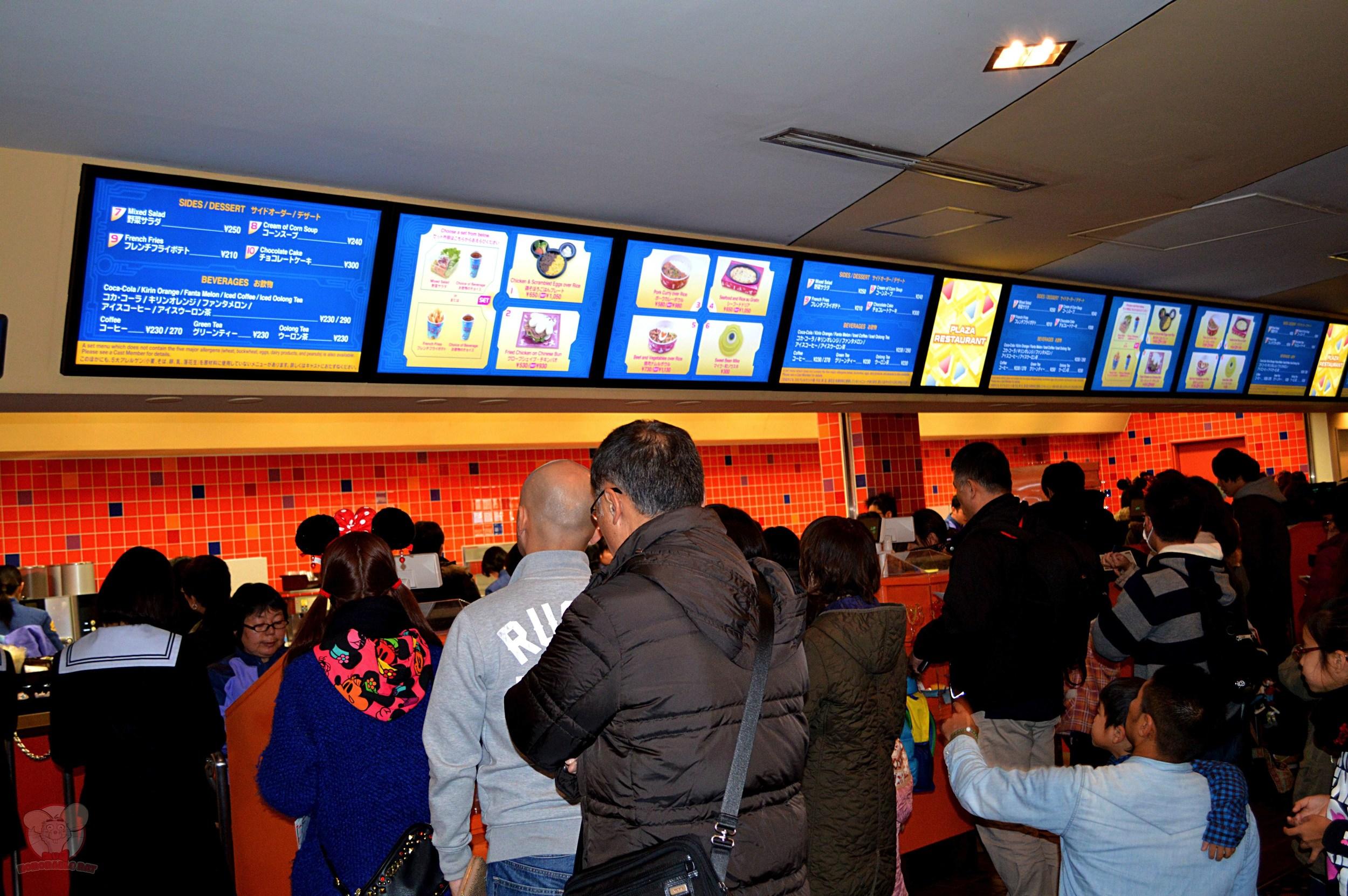 Line to get food and menu