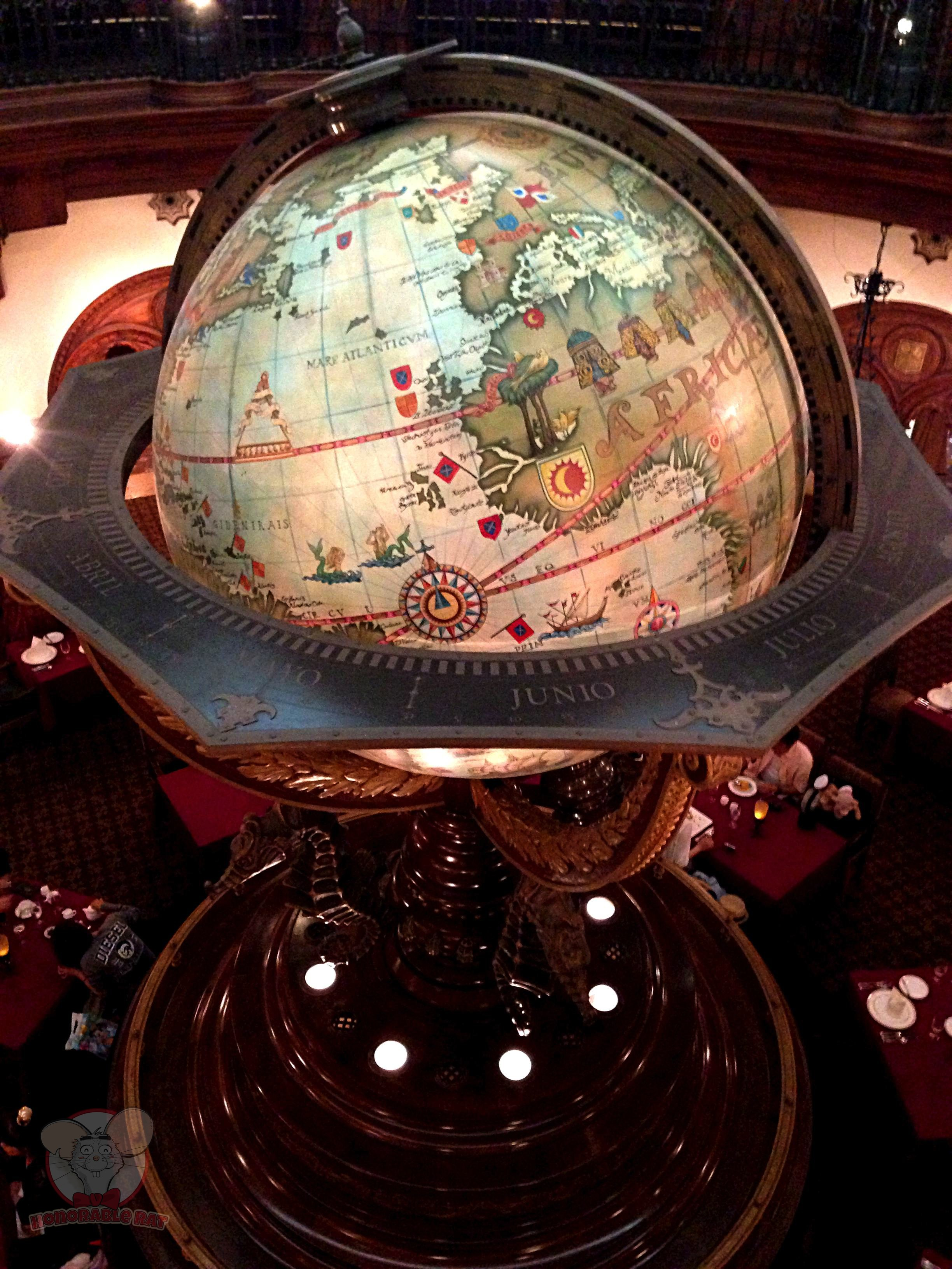 Big globe in the center of the restaurant