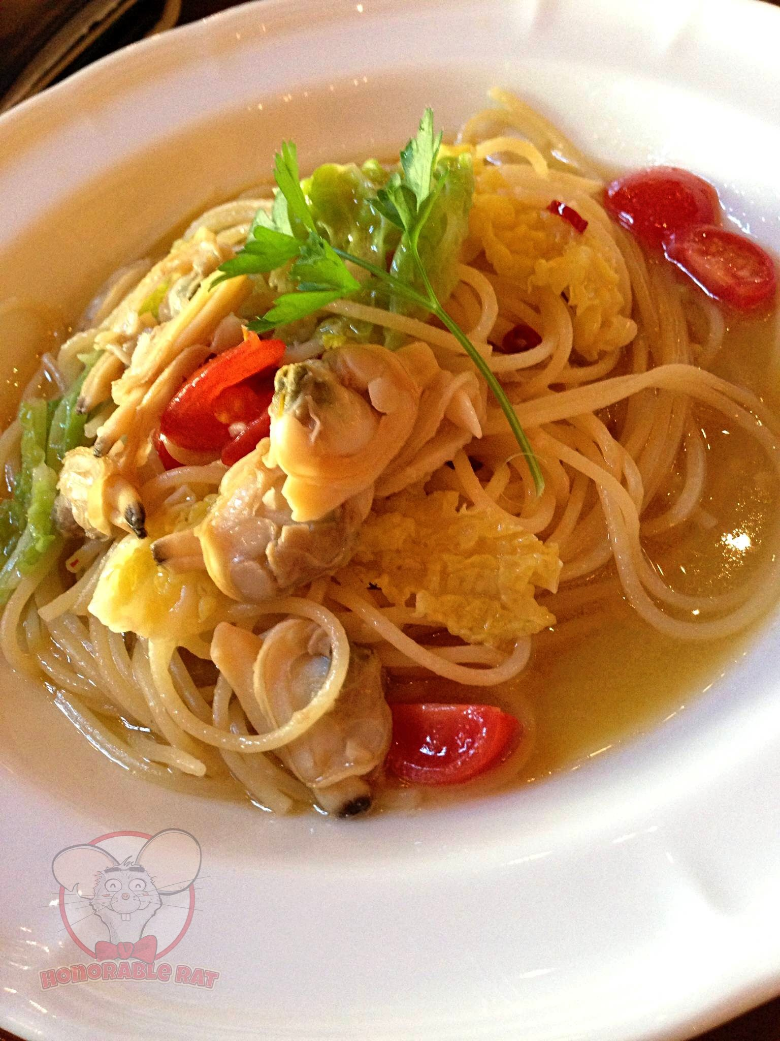 Spaghettini with Shortneck Clams and Savoy Cabbage in Anchovy Sauce