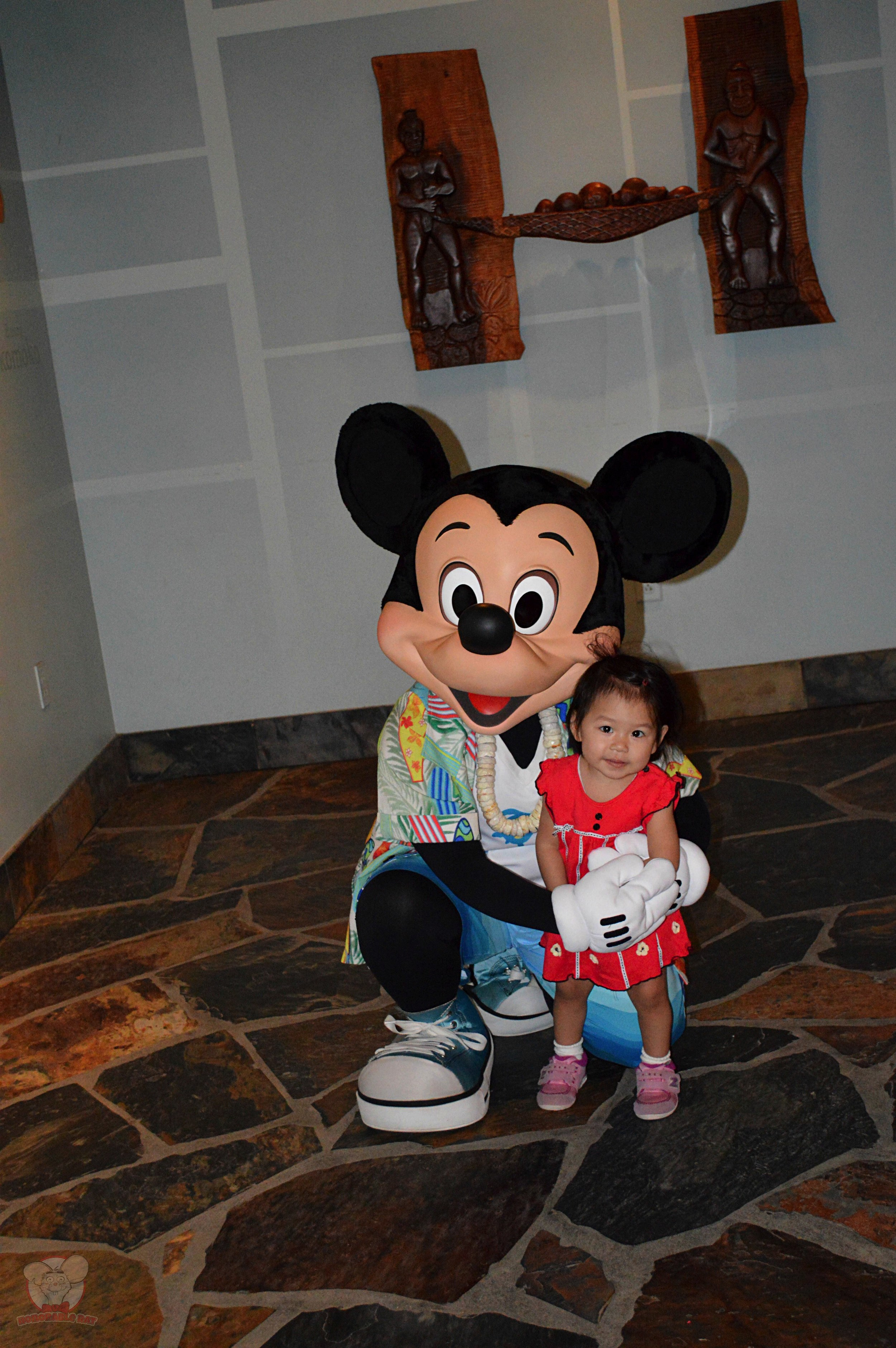 Little Mahina with Mickey by herself