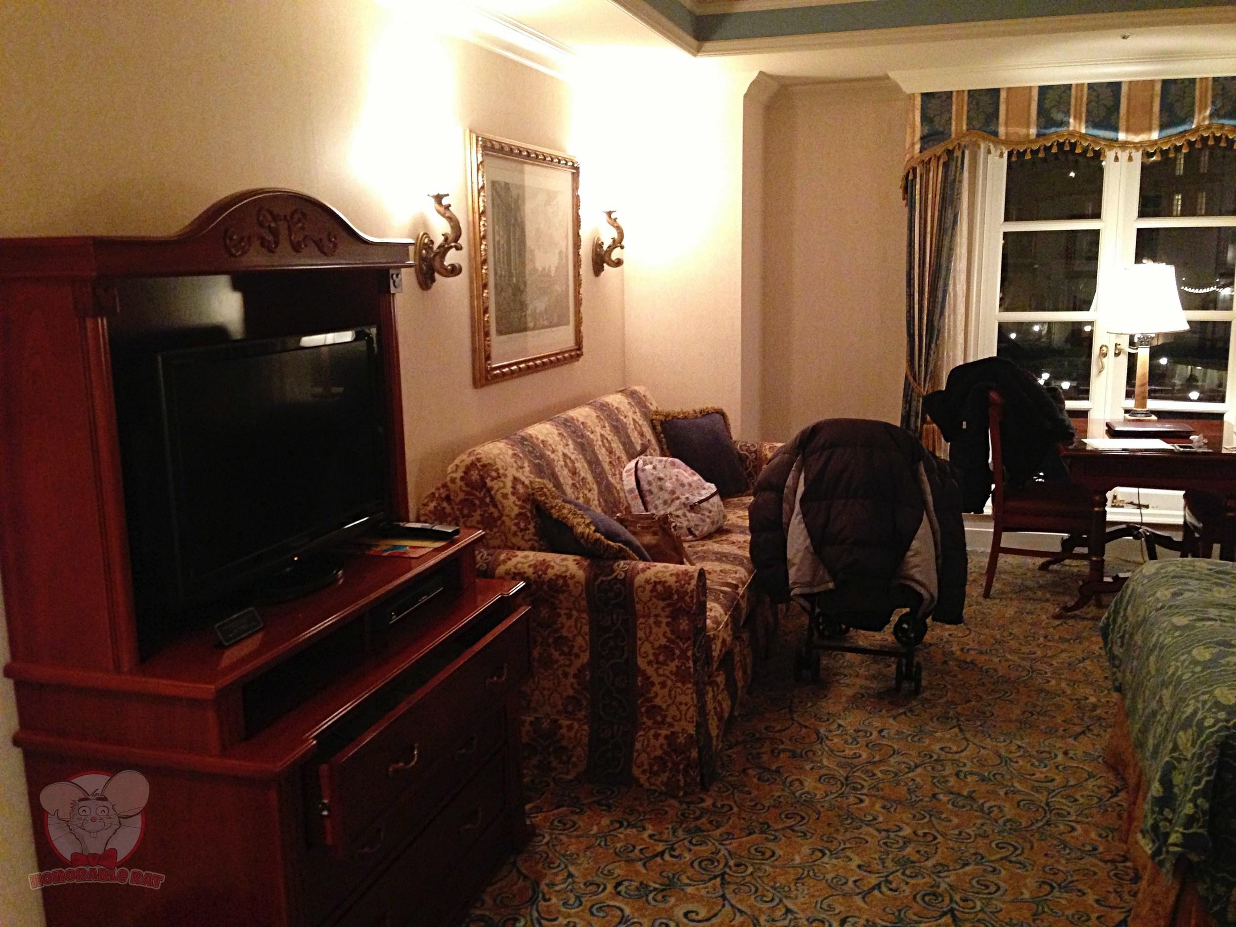 Television and sofa