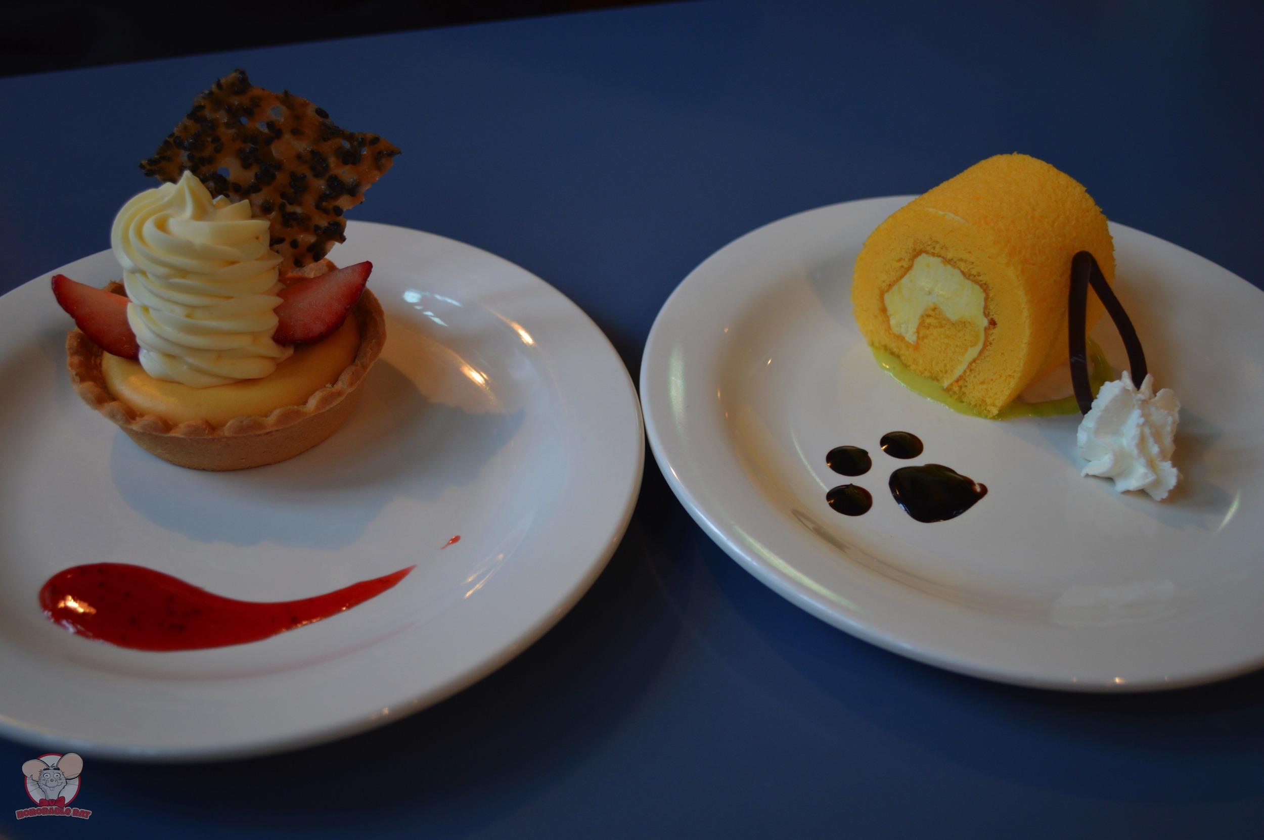 Double Cheese Tart (Left), Banana Cream Roll Cake (Right)