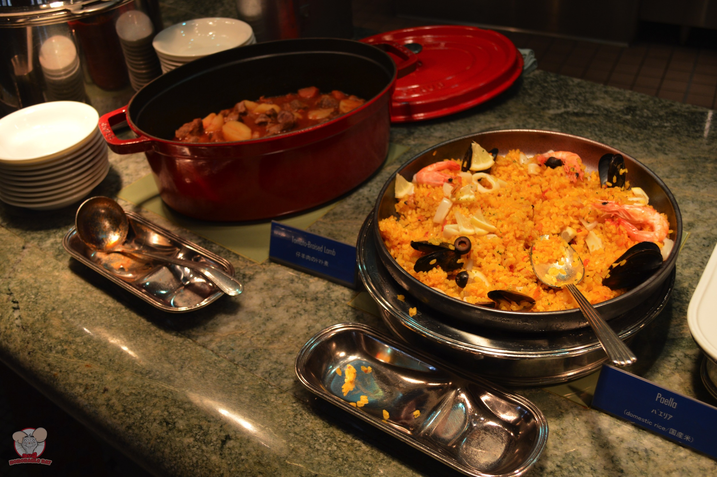 Tomato-Braised Lamb (Left), Paella (Right)