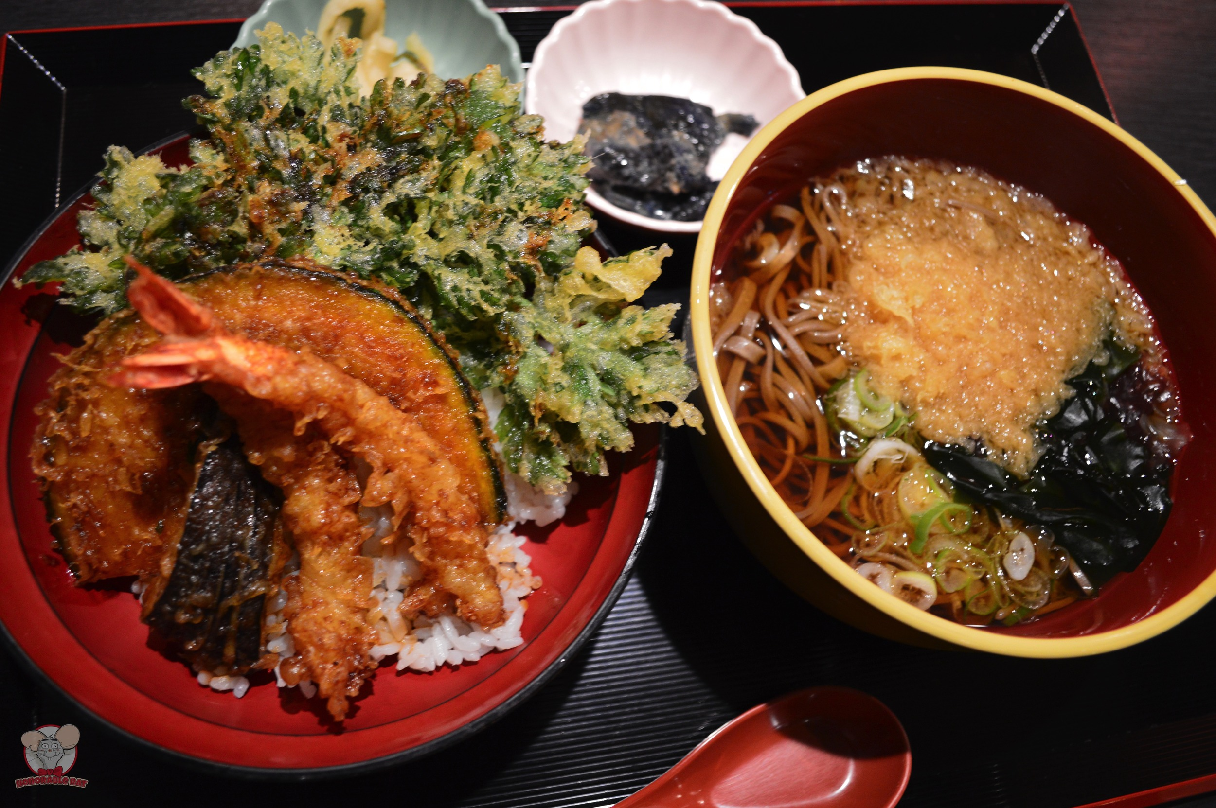 Tempura with Rice and Hot Soba Lunch Set