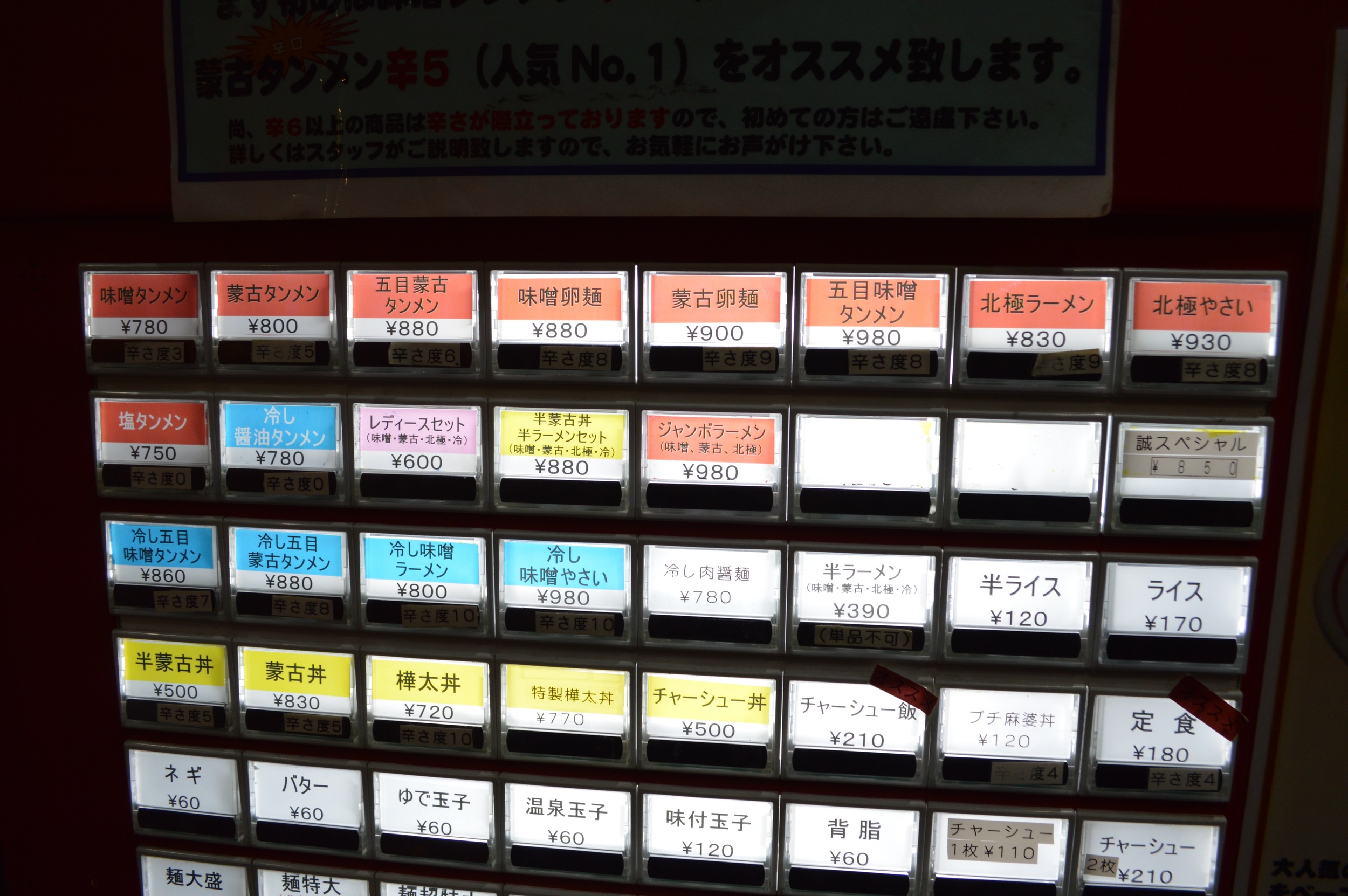 Closer look at the ticket machine