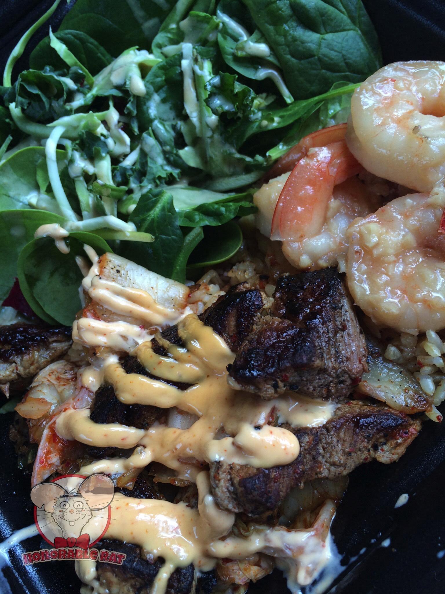 Kim Chee Steak with Shrimp on Rice