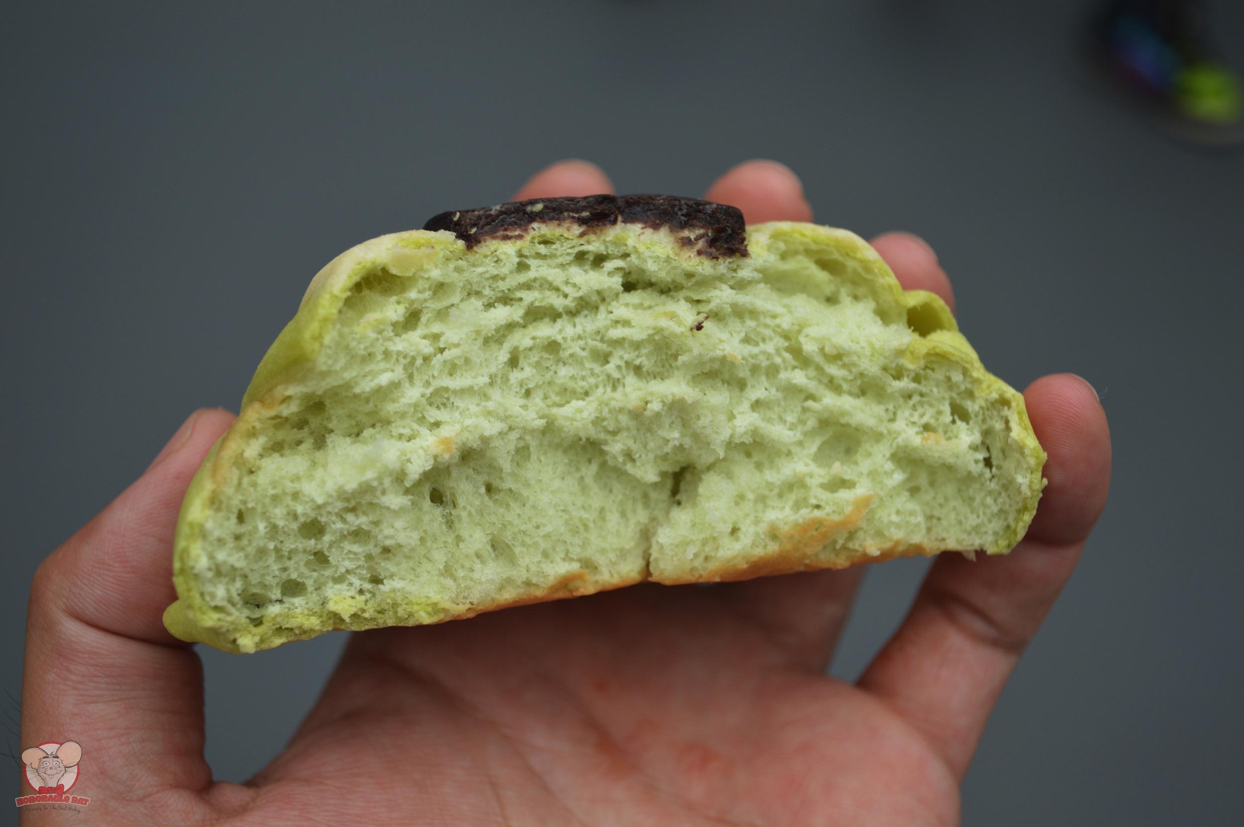 Inside a half eaten Mike's Melon Bread