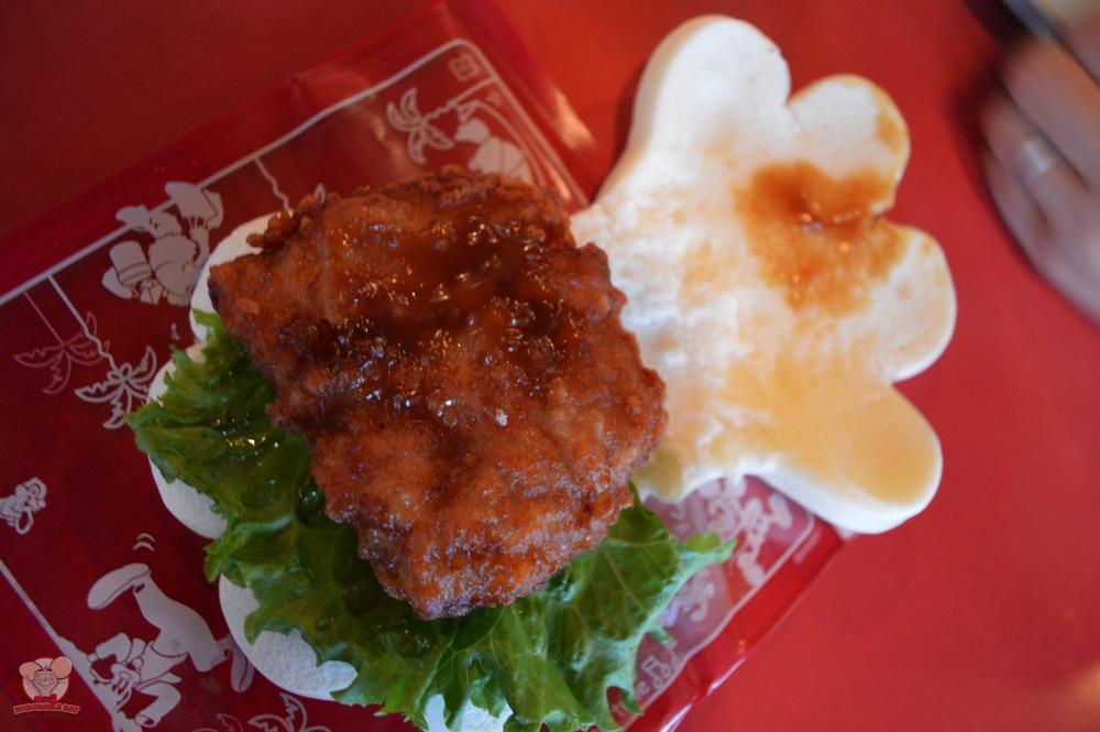Inside of a Fried Chicken Mickey Handwich