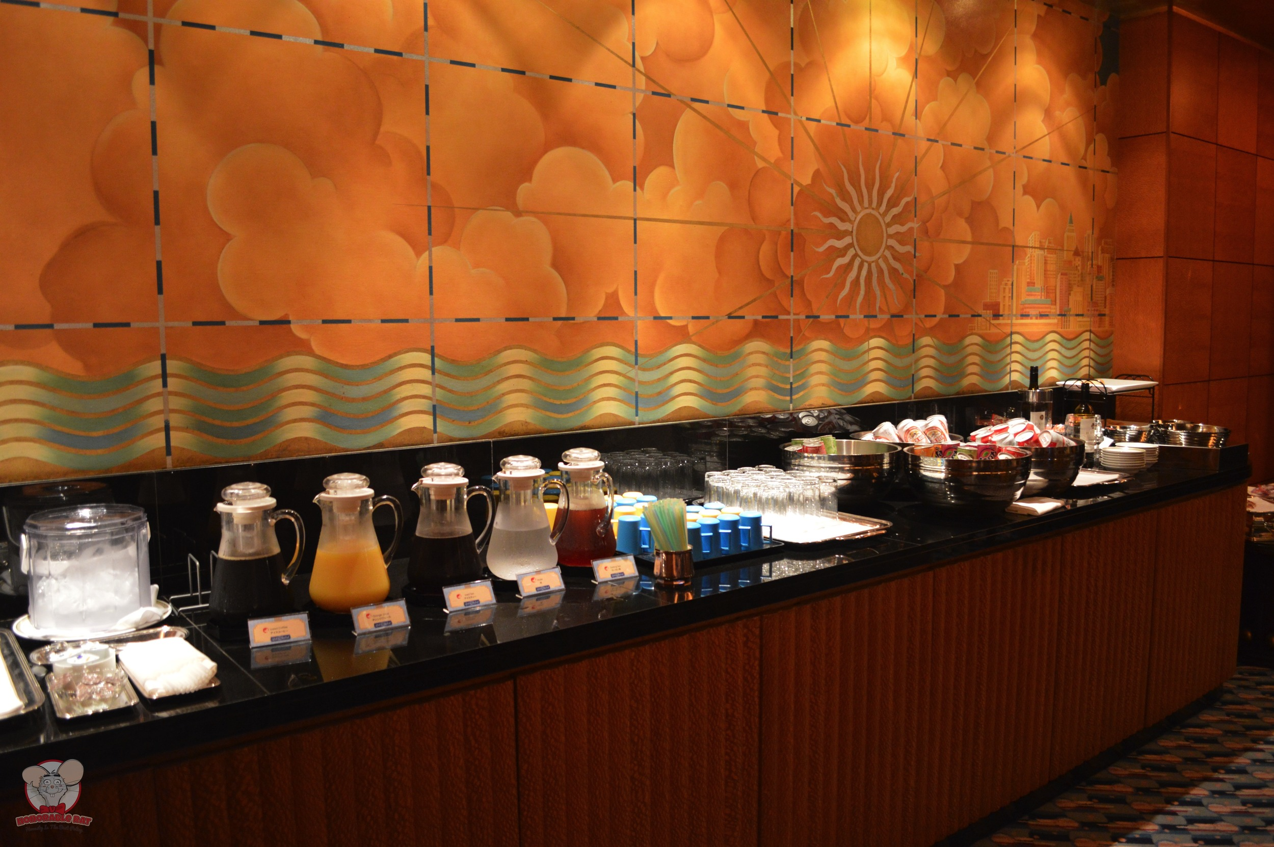 Complimentary drinks and snacks