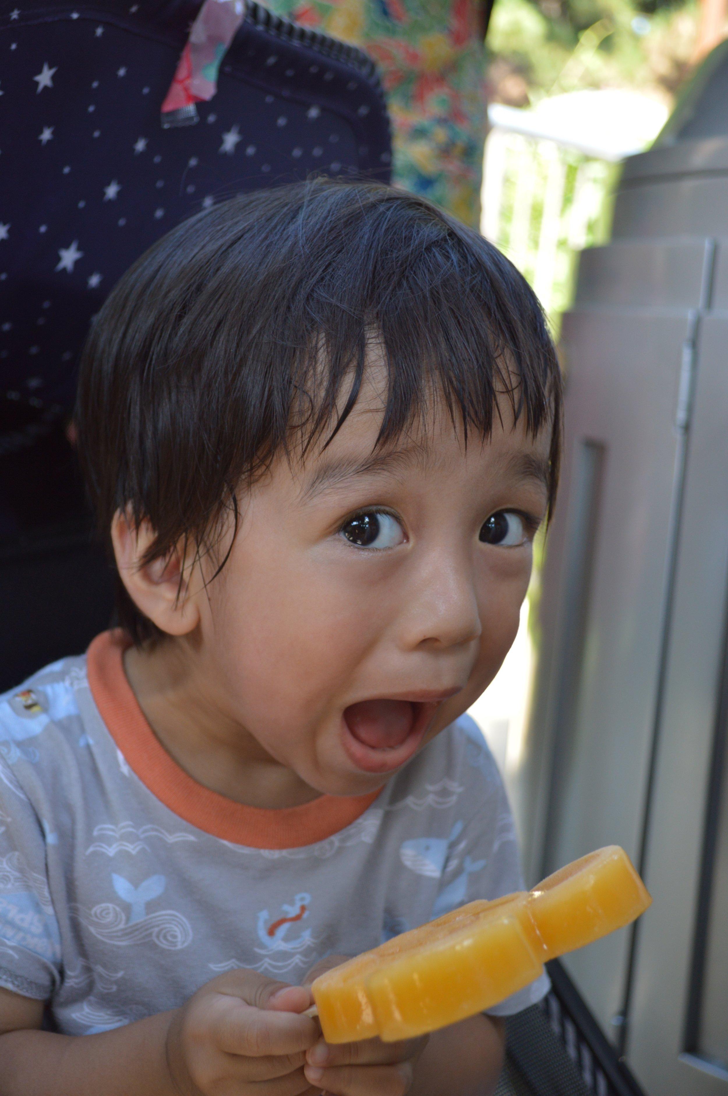 Baby Haku with his Mickey Ice Bar