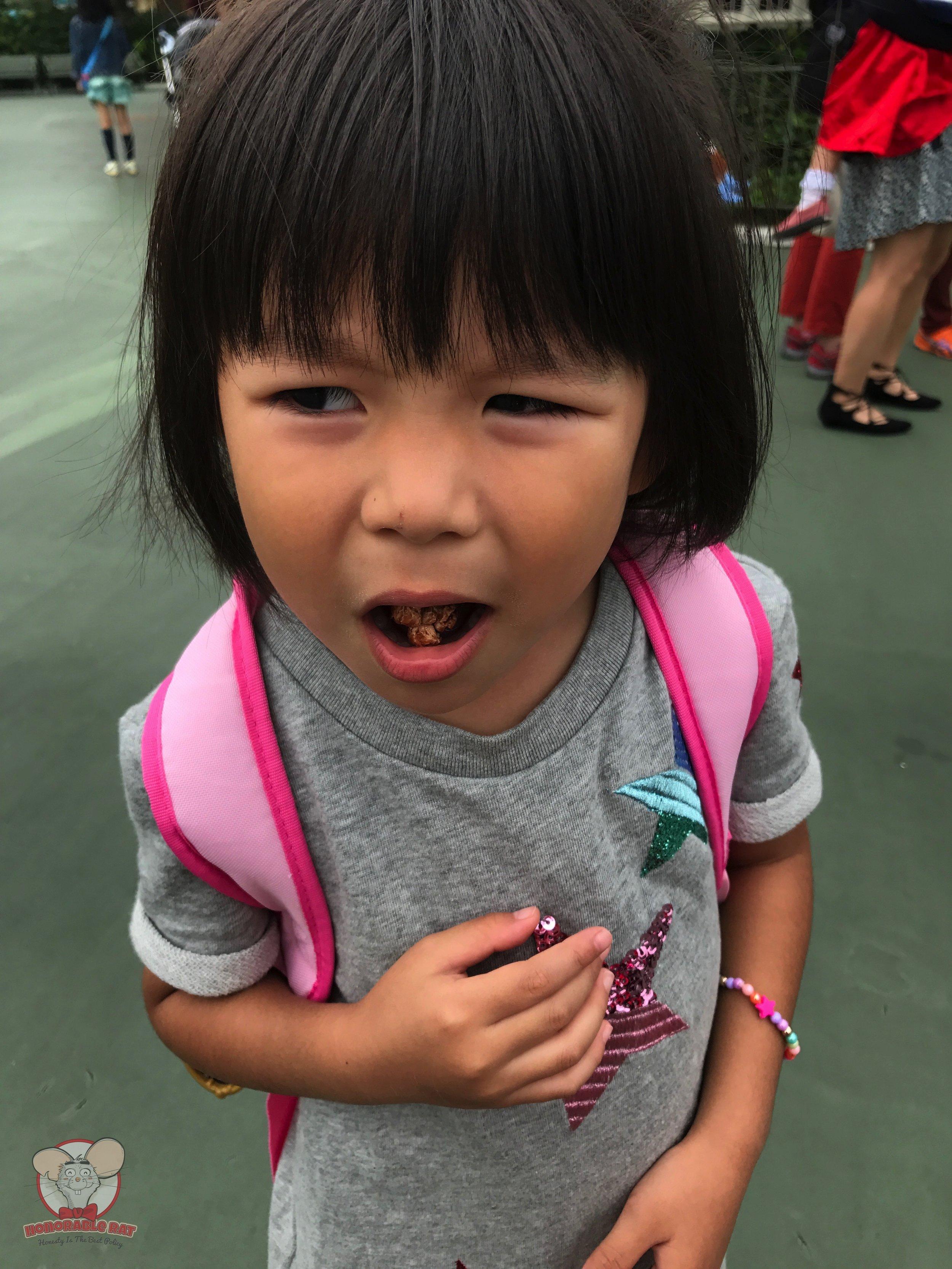Little Mahina didn't enjoy the Milk Chocolate Popcorn at all