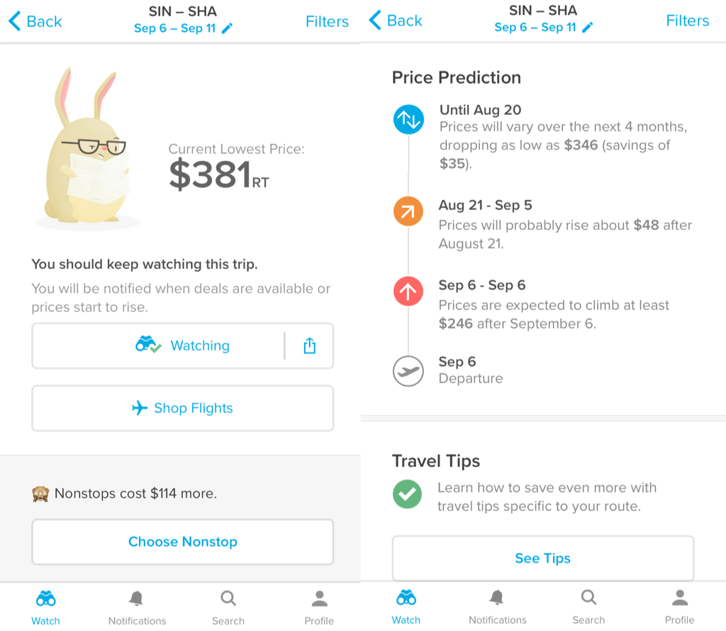 Seriously, look at that bunny! Hopper not only tells you the price now, it also gives you an estimation on when and how much the prices will increase or decrease