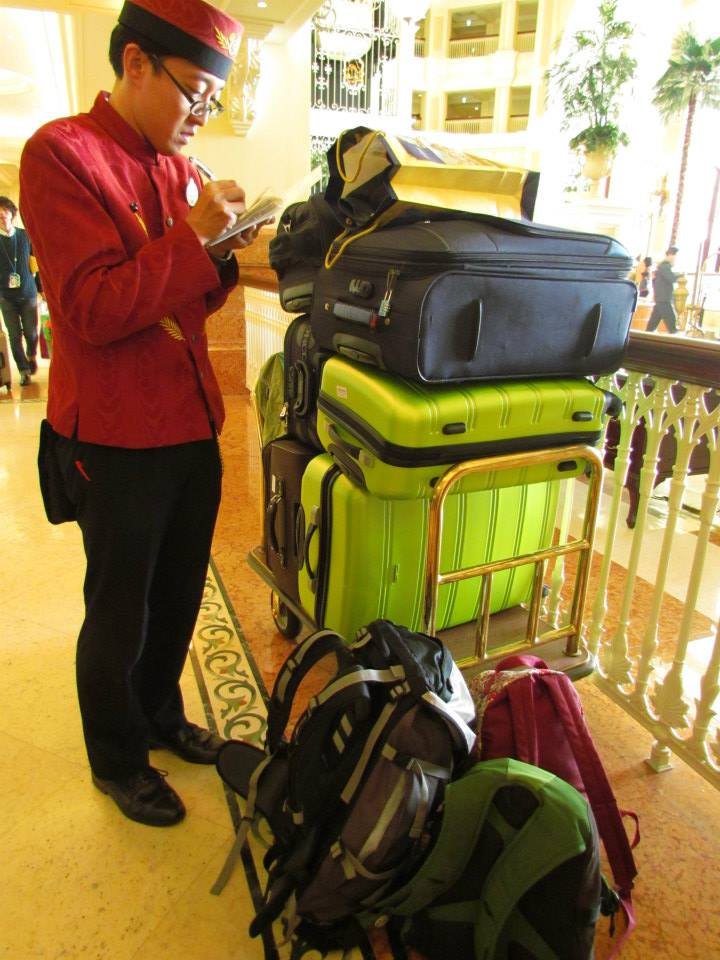 Check out the number of pieces of luggage we had on our trip previously!