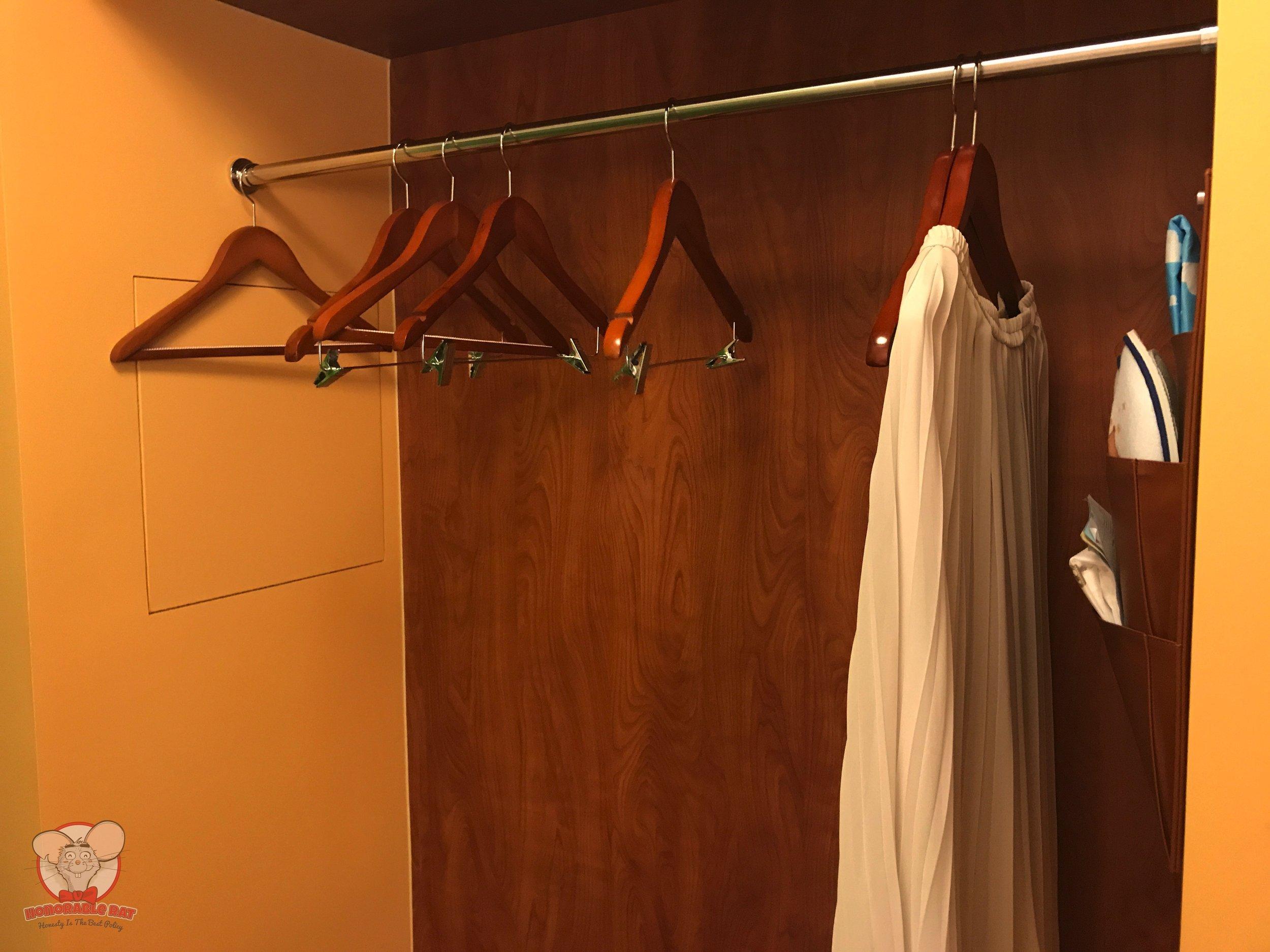 Hangers in the open closet