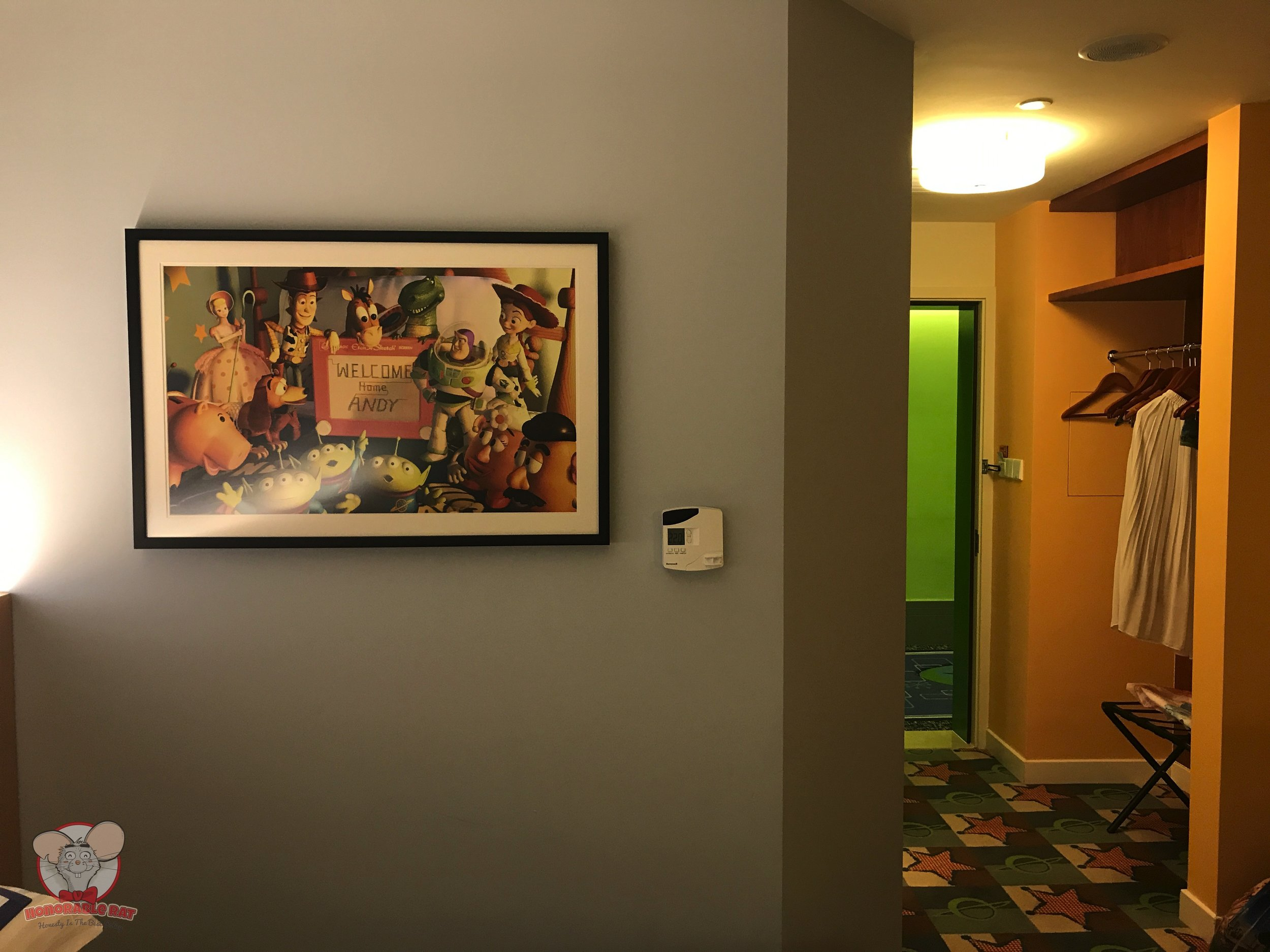 """""""Welcome Home Andy"""" picture on the wall"""