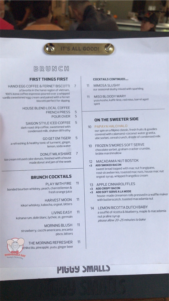Brunch Menu Page 1