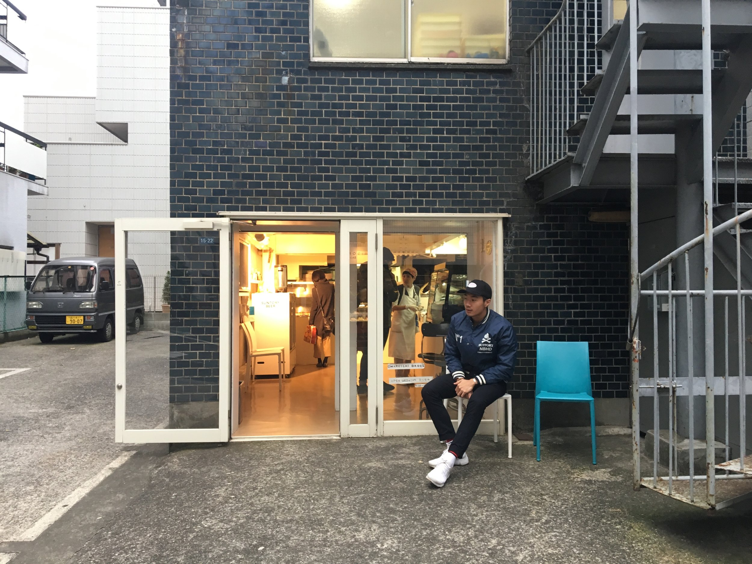 I feel this is the most legit bagel store in Tokyo ever and pretty damn sure the crew agrees it too. It's called Maruichi bagels     https://maps.google.com.sg/maps?oe=UTF-8&hl=en-sg&client=safari&um=1&ie=UTF-8&fb=1&gl=sg&entry=s&sa=X&ftid=0x60188ba7e14f4a7f:0x42129c56a4ece3b4&gmm=CgIgAQ%3D%3D