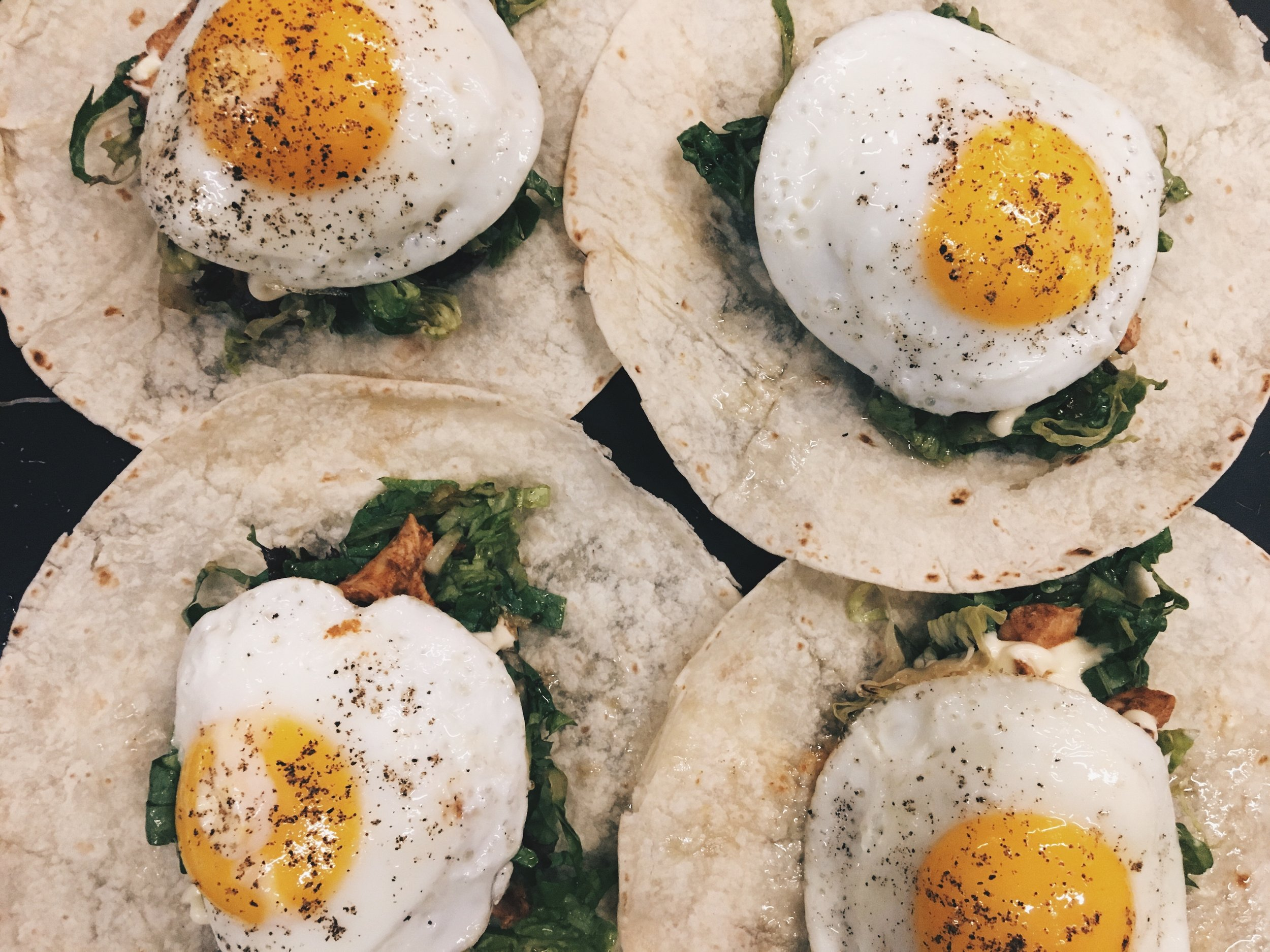Fried egg tortillas