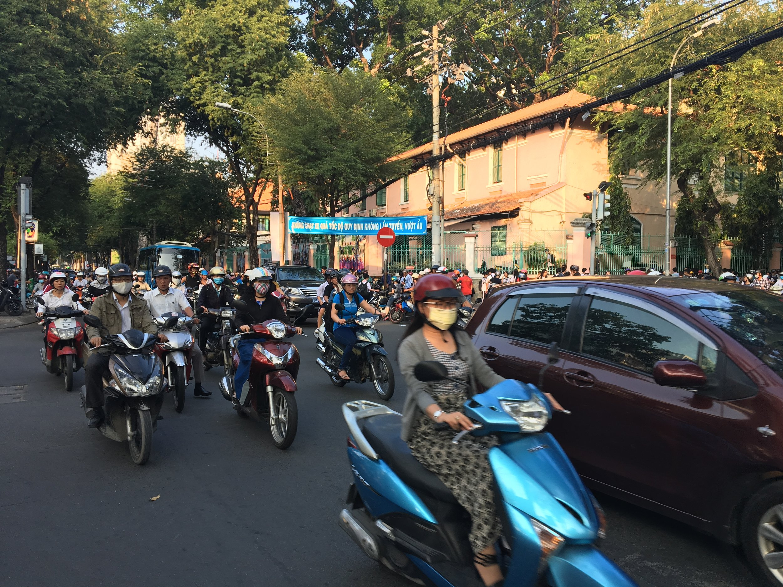 Traffic conditions in Saigon. It's pretty bad but not as bad as you think. The motorcycles go around you while you cross the roads.
