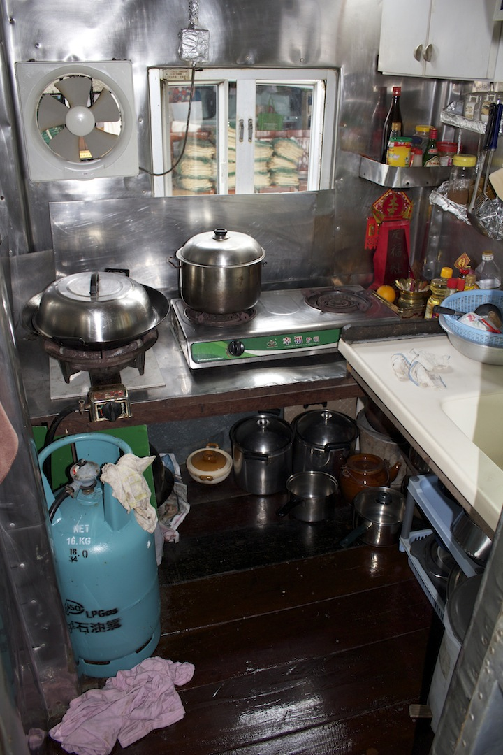 This is the kitchen for five families. About 1.5m x 1.5 m. All food cooked fresh daily ... delicious!