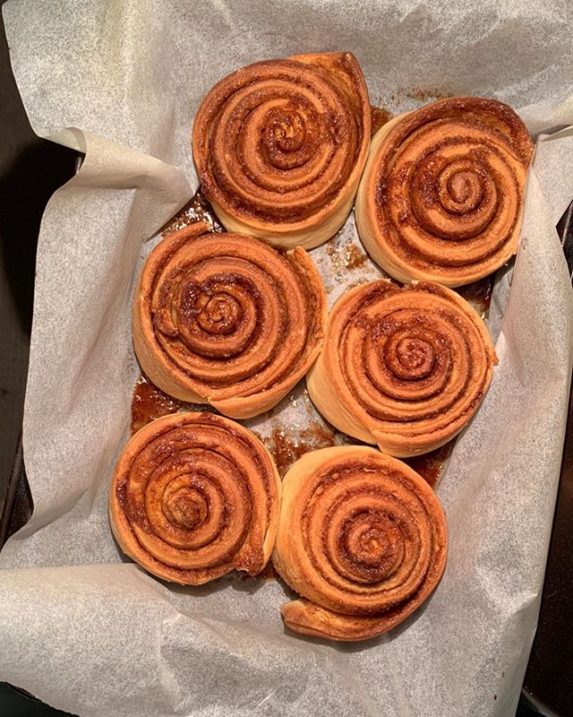 My girl was home for the weekend and just knocked up these ... #cinnamonscrolls #pleasedontgo #thekidcanbake
