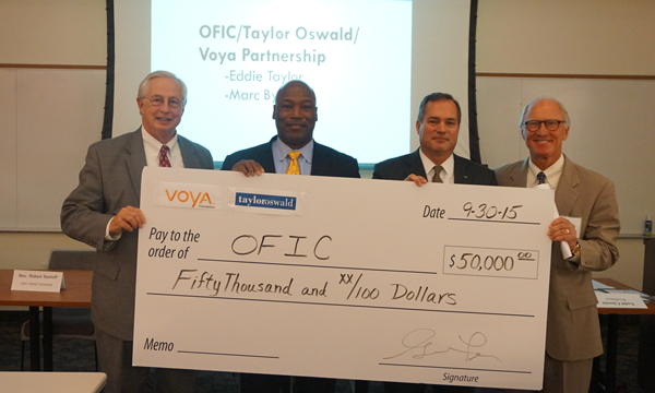 Pictured (L to R):  Gordon Brollier,  OFIC President,  Eddie Taylor , TaylorOswald Founder and President,  Todd Clossin , WesBanco President and CEO and Chair, OFIC Board of Trustees,  Marc Byrnes,  Chairman, Oswald Companies