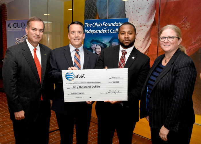 L to R: Todd Clossin, President & CEO WesBanco, OFIC Board Chair, Bill Spiker, OFIC President, Christopher Wyche, Director, External Affairs, AT&T Ohio, Sarah Briggs, Vice President, External Affairs, AT&T Ohio.