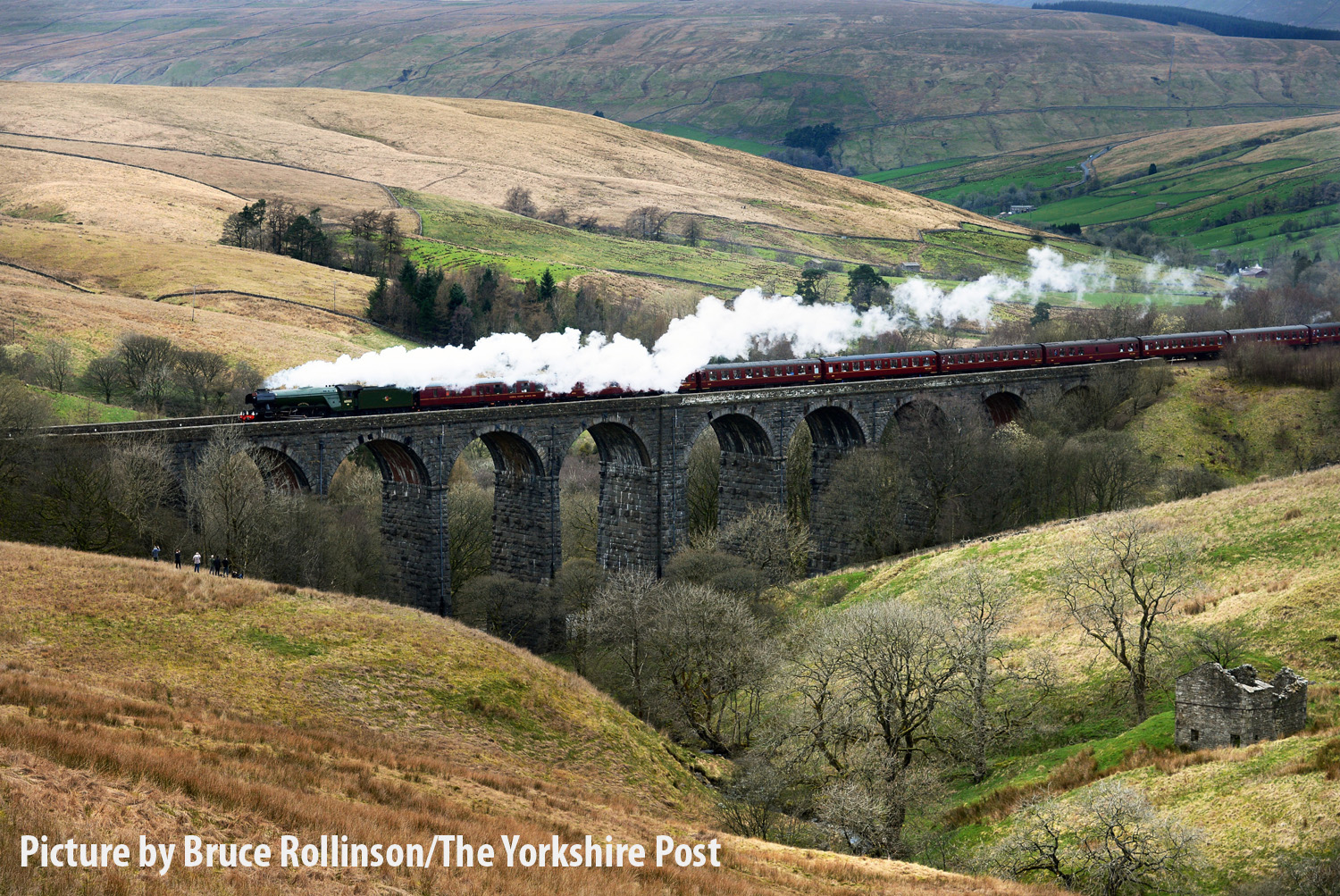 The Flying Scotsman crossing the Dent Head Viaduct on its  return journey from Carlisle to Oxenhope to celebrate the re-opening of the Settle Carlisle Railway line.  31 March 2017.  Picture Bruce Rollinson