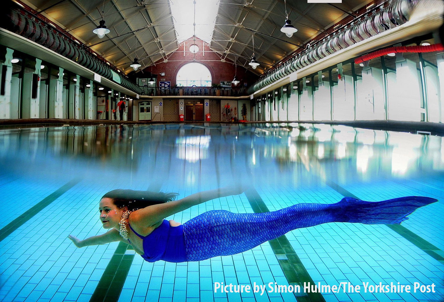 Photo Essay.. The Bramley Mermaid..Yorkshire Aquatic Life, Bramley Baths, Leeds..Lucy Meredith dressed as a mermaid.6th September 2016 ..Picture by Simon Hulme