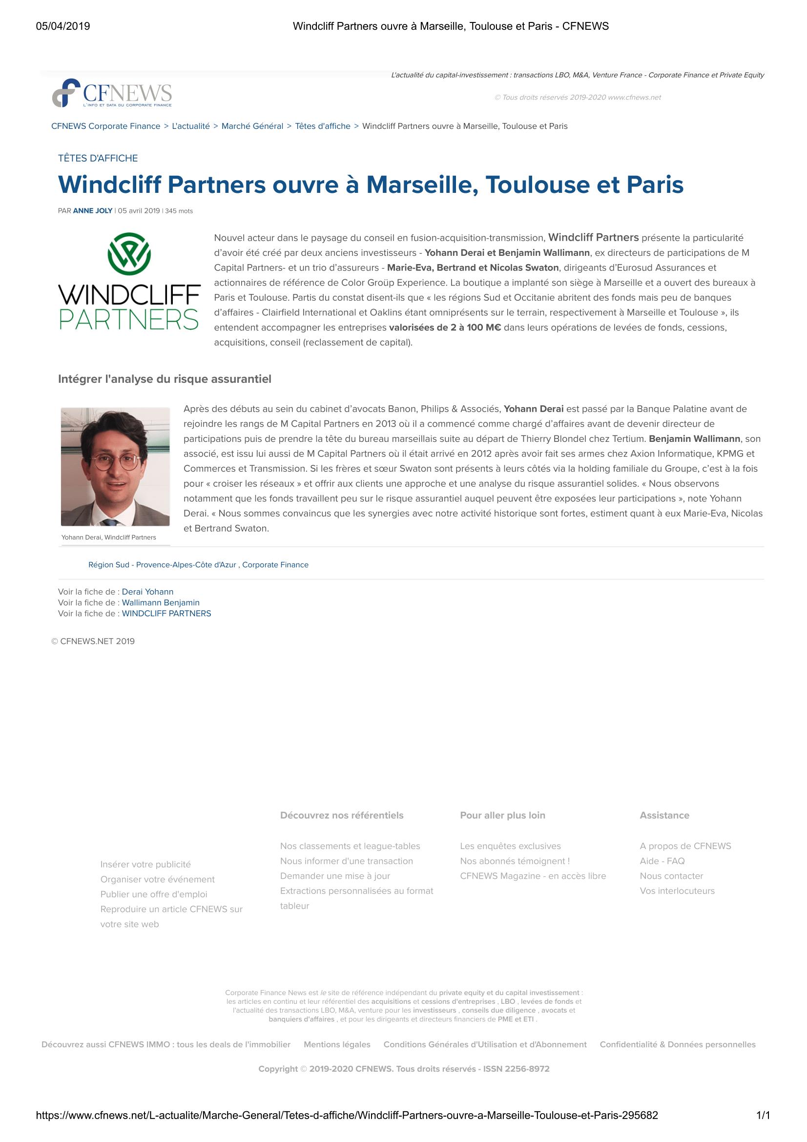 Windcliff Partners ouvre à Marseille, Toulouse et Paris - CFNEWS-1.png