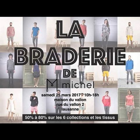 *SAVE THE DATE* le 25 mars Michel brade ses 6collections ainsi que plus de 200 mètres de tissus de qualité lors d'une unique vente à la maison du Vallon à Lausanne de 10h à 18h! Ne manque pas cette journée de folies et embarque tout ton quartier avec toi 🤗 www.michelcouture.ch #maisonduvallon #soldes #soldes2017 #fashion #swissmade #swissdesign #swissfashion #menswear #womenswear #braderie #mode #vente #ventecollections #ventetissus #lausanne
