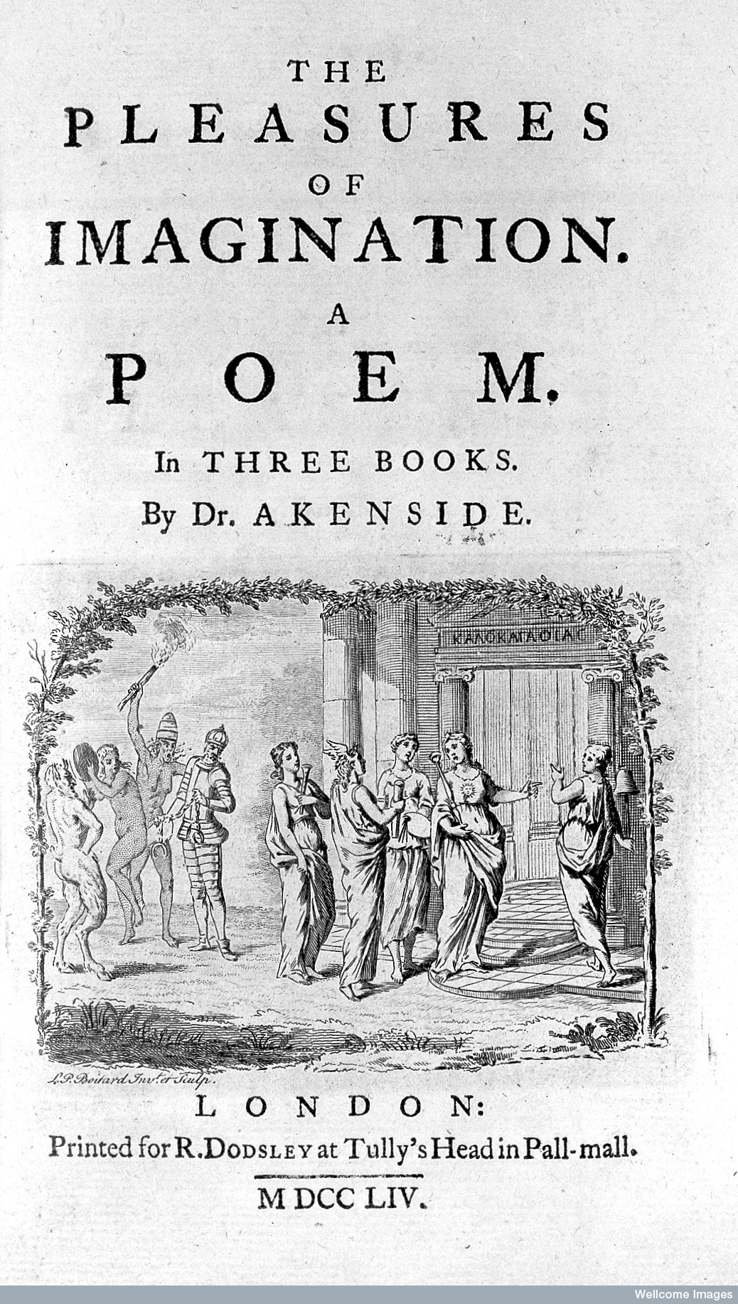 Title Page of  The Pleasures of the Imagination , printed by Robert Dodsley, Akenside's publisher.  Original at  Wellcome Images  (Creative Commons).