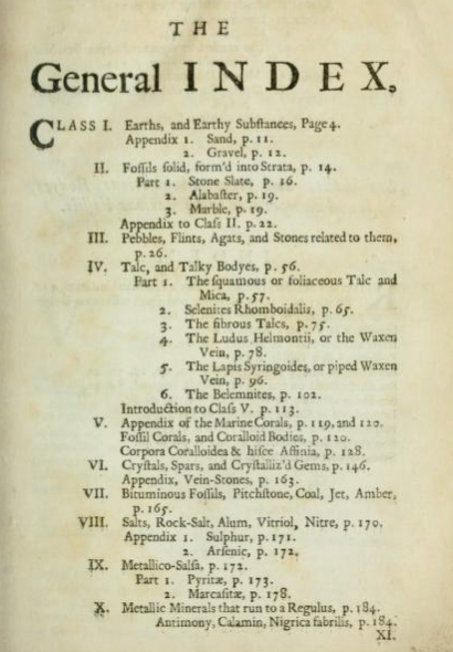 "The ""General Index"" to Woodward's   An Attempt Towards a Natural History of the Fossils of England  (1728-29), xv.  Image from  archive.org ."