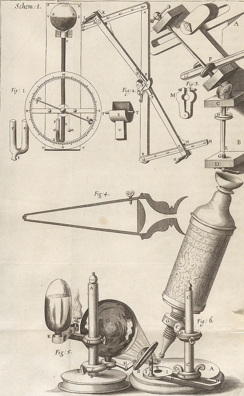 Robert Hooke's microscope, and his powerful apparatus for illumination. Photo by curator, from the University of Michigan website.
