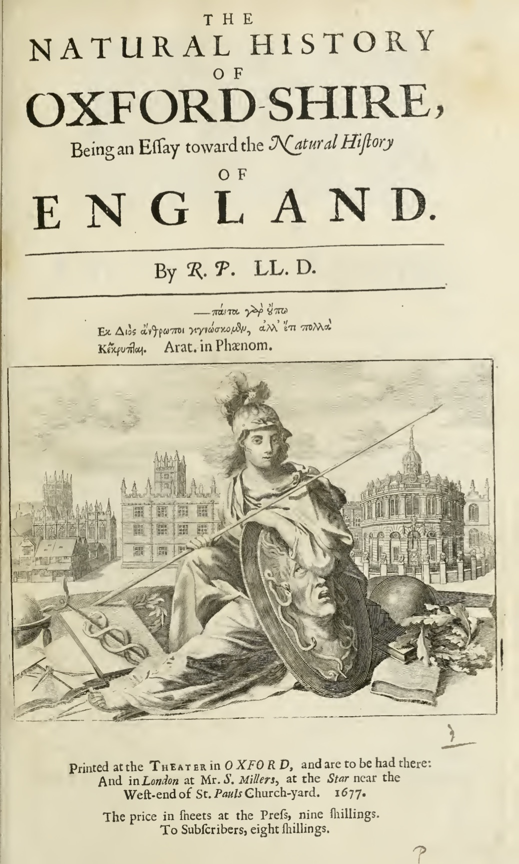 Robert Plot, Natural History of Oxford-Shire (London, 1677). Britannia is seated between the instruments of learning and the emblems of media.
