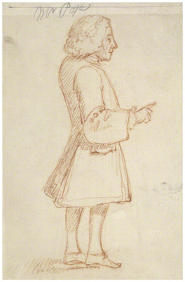 A hasty red-chalk drawing of Alexander Pope, taken (probably without his permission) by portraitist William Hoare, sometime around 1740. Original is in the National Portrait Gallery, London, NPG 873.