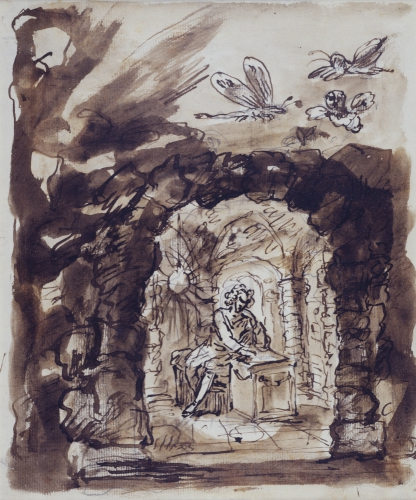 Alexander Pope in his Grotto, by William Kent.  There has been rich speculation about the little fluttering creatures surrounding the grotto; I suspect they are sylphs, the products of Pope's poetic fancy.