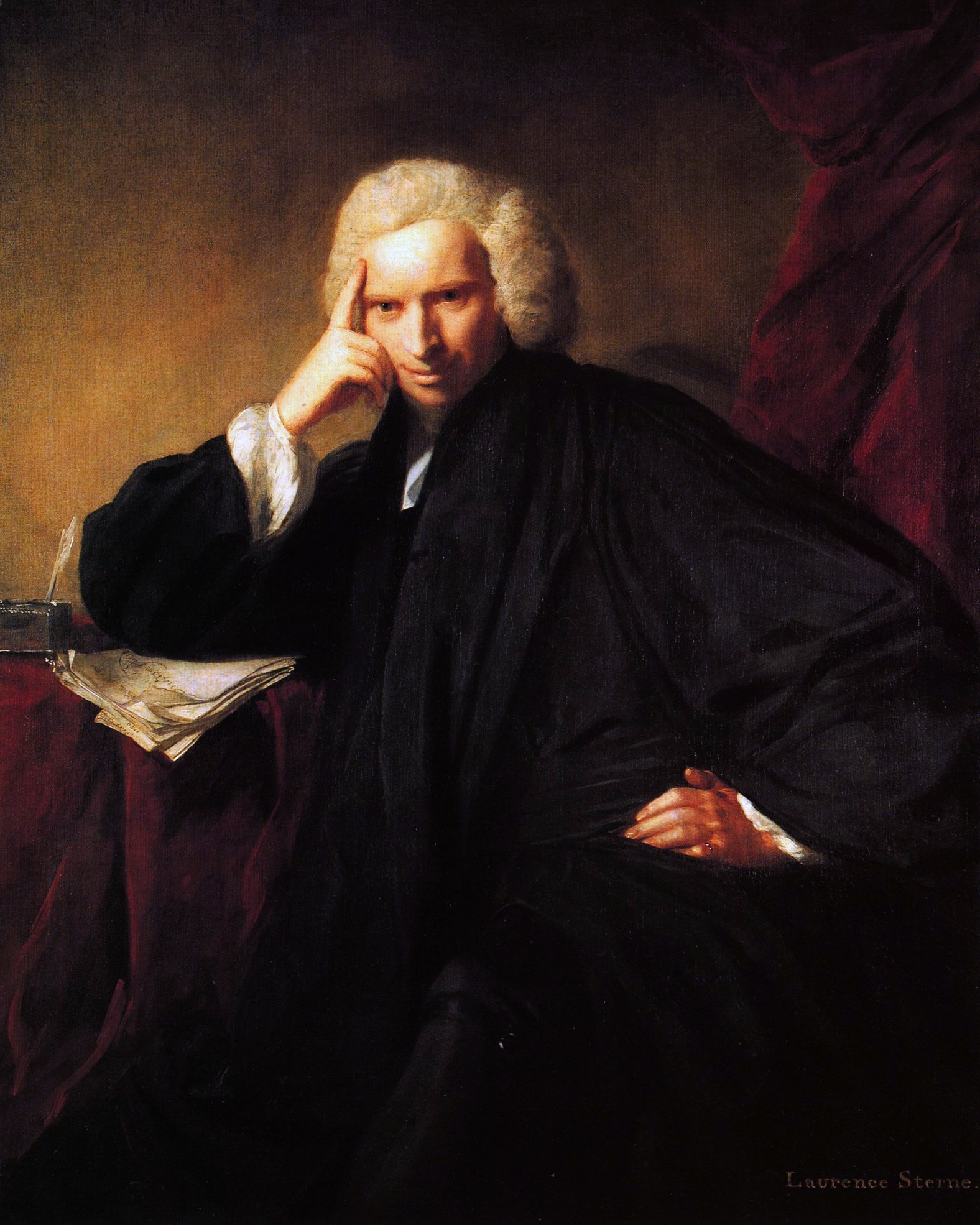 Laurence Sterne, by Joshua Reynolds. Original at the National Portrait Gallery, London (NPG 5019). We usually assume that under Sterne's elbow is the finished manuscript of the first two volumes of his  Tristram Shandy -- but, as it is a book that famously struggled to get started, it might just as well be that we are capturing him, here, having just conceived it.