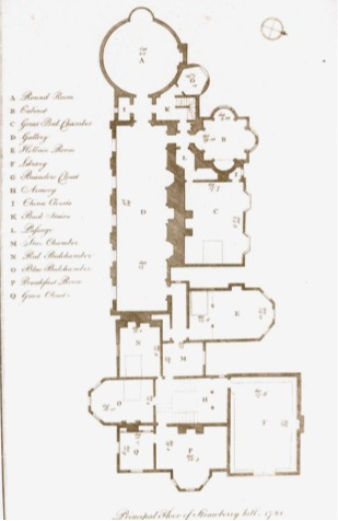 Strawberry Hill, plan view.  Entrance is at the bottom right.  The Beauclerc tower is the hexagonal room nestled in the upper right corner.  Exit is at the top left.  From Walpole,  Description , photo by curator.