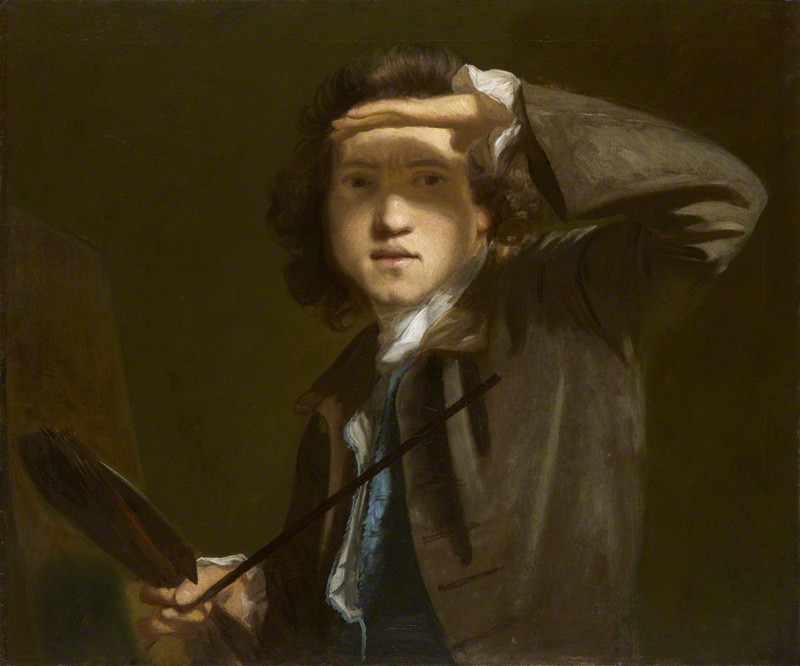 Reynolds's self-portrait-- in a repeated pose, gazing through the simplest of optical instruments.   National Portrait Gallery, NPG 41 .