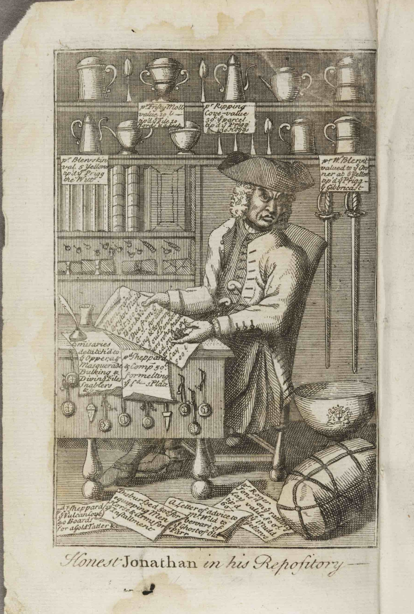 """""""Honest Jonathan in His Repository."""" Wild as head of a criminal """"Corporation,"""" the private business behind the public front. from  Life and Glorious Actions . . . of Jonathan Wilde  (London, 1725). Courtesy Huntington Library, San Marino, California"""