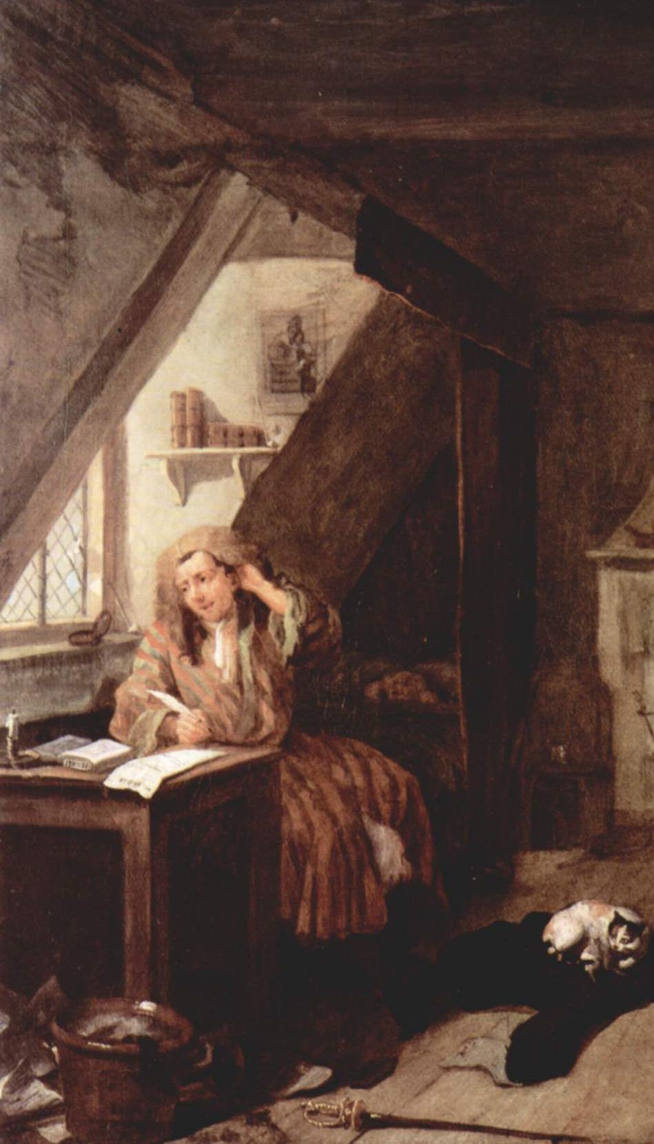 "William Hogarth, ""The Distressed Poet,"" Detail (1736)"