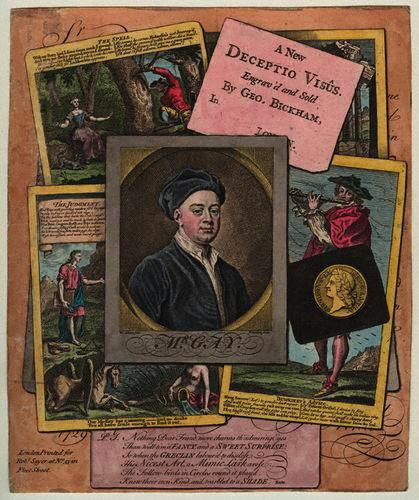 """John Gay, by George Bickham, Sr, """"A New Deceptio Visus"""" (ca. 1729). Photo by Curator. Many copies have survived, for instance  National Portrait Gallery,   NPG D9490 ."""