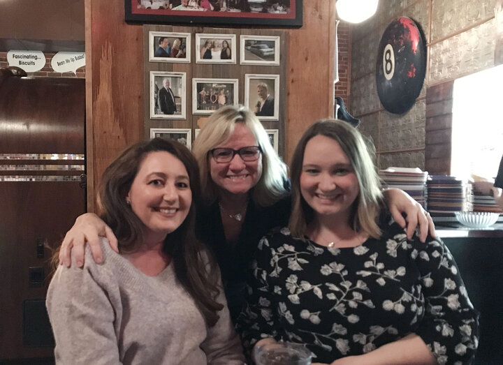 Melissa Boughton (right), with her mom (middle) and her sister (left) during a recent visit to Texas. Both women were the author's support system after she had her surgery related to her hidradenitis suppurativa.